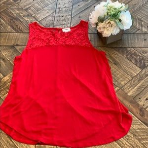 Old Navy Red Sleeveless Top with Lace